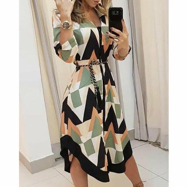 Женское платье-рубашка с волнистым принтом, повседневное свободное Выходное платье миди с длинным рукавом и v-образным вырезом размера плюс, осень 2019 4