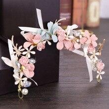 Новый стиль розовый цветок имитация корона с жемчугом лента для волос невесты свадебное платье, новинка, свадебные аксессуары для волос, го...