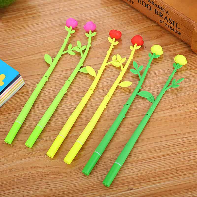 Kawaii Rose Gel Pen Cute Flower Gel Pen Novelty Neutral Pen For Kids Girls Gifts School Office Stationery Supplies