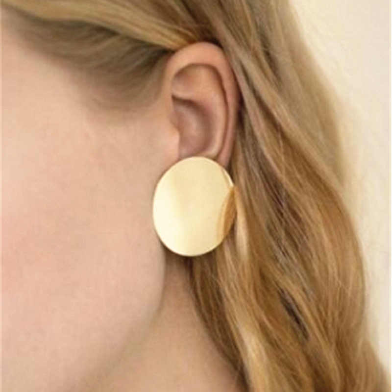Fashion Gold Color Glossy Round Earrings Hoop Smooth Earrings Simple Clear Circle Charm Earrings For Women Girls Geometric Gift