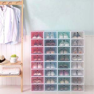 Image 4 - 6 pièces boîte à chaussures en plastique empilable pliable organisateur de chaussures tiroir mallette de rangement avec retournement porte claire dames hommes 33.5x23.5x13cm