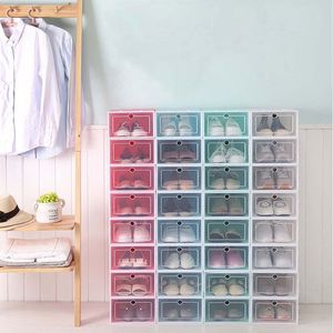 Image 4 - 6Pcs Plastic Shoe Box Stackable Foldable Shoe Organizer Drawer Storage Case with Flipping Clear Door Ladies Men 33.5x23.5x13cm