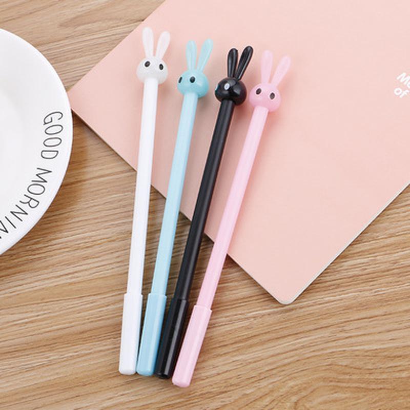 1 шт. кролик гелевая ручка 0,5 мм Симпатичные ручки канцелярские Студенческие ручки милый черный гелевая ручка для подписи школьные канцеляр...