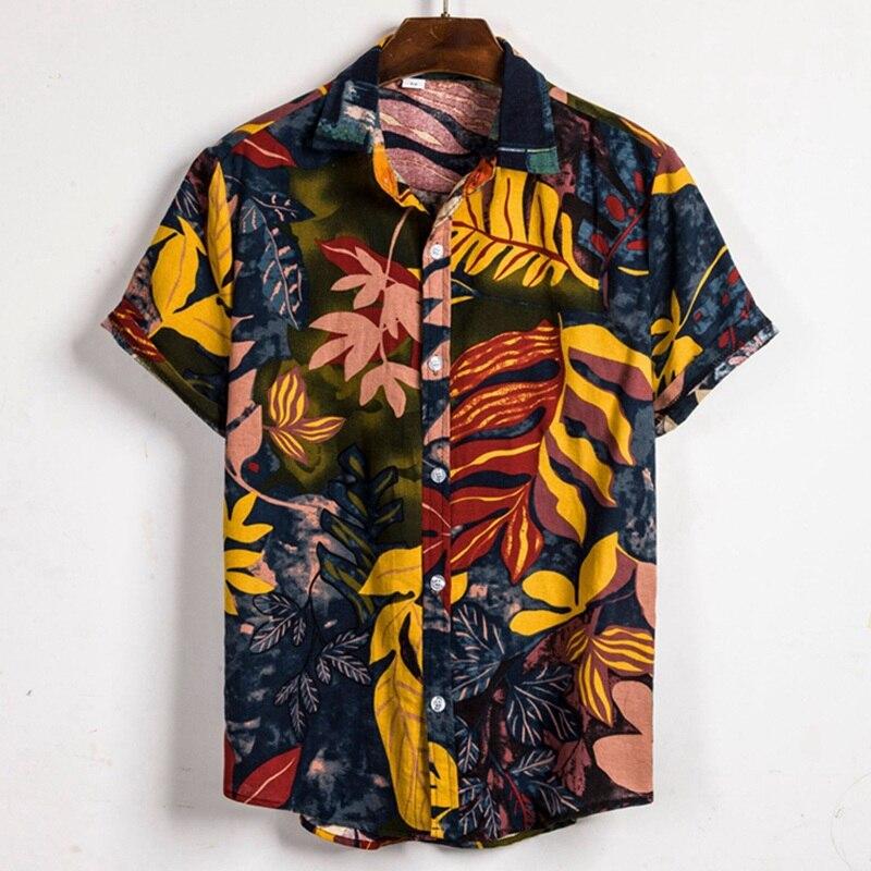 Mens Beach  Shirt Tropical Summer Short Sleeve Shirt Men Shirt Casual Loose Cotton Button Down Shirts Plus Size