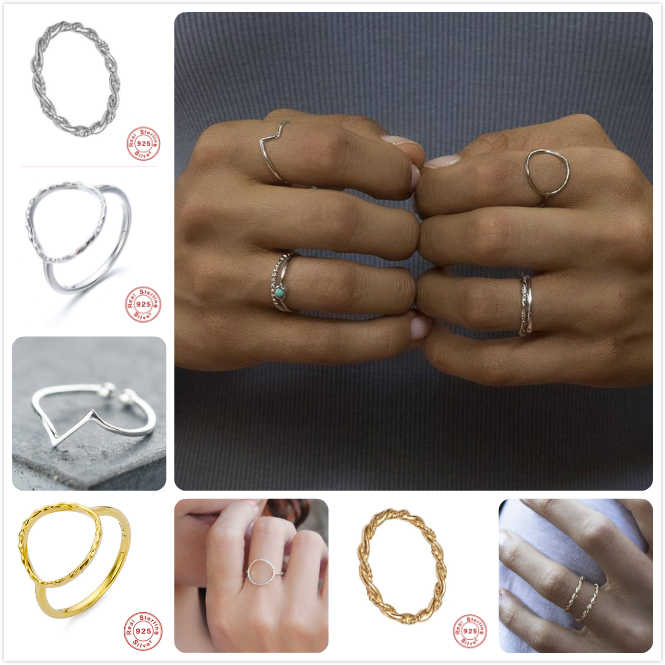 แหวนเงิน 925 สำหรับผู้หญิงทองงานแต่งงานแหวนหมั้นแหวนสาววันวาเลนไทน์ครบรอบของขวัญนิ้วมือแหวน R5