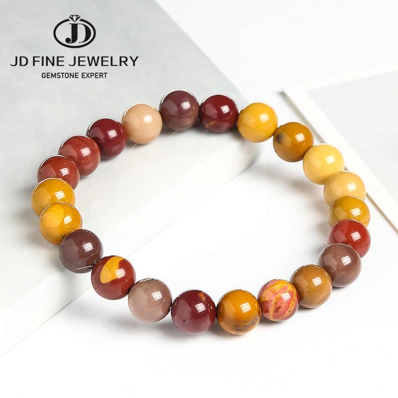 JD سعر المصنع الحجر الطبيعي Mookaite الجولة الخرز سوار ستراند 4 6 8 10 12 مللي متر اختيار حجم الملونة مجوهرات للنساء