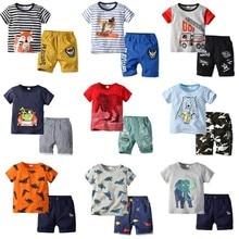 Children's Wear Short Sleeve Suit 2019 Spring Summer Boys Cartoon Print Crew Neck T-shirt Shorts Two-piece Set Boy Kids Clothes