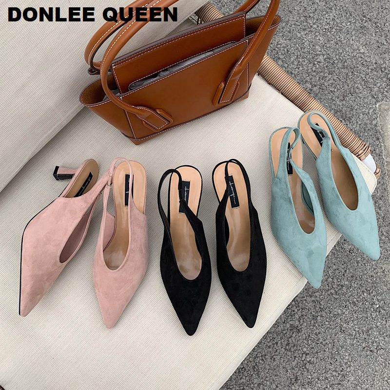 Women Slingback Thin Med Heel Sandals Shoes Elegant Ladies Flock Dress Party Office Pumps Shoes Women Slip On Pointed Mule Mujer