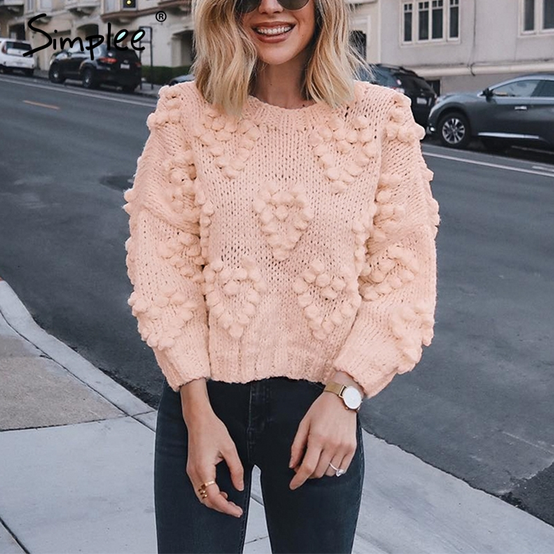 Simplee Pink Hairball Autumn Winter Sweaters Ladies O Neck Long Sleeve Casual Pullover 2019 New Fashion Loose Knitted Jumper