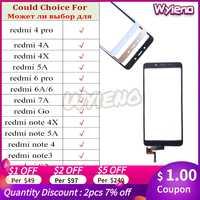 Wyieno para Redmi Note 3 4 6 Pro 4A 4X 5A 6A 7A S2 Y2 ir Digitalizador de pantalla táctil Panel Sensor de vidrio Touchpad