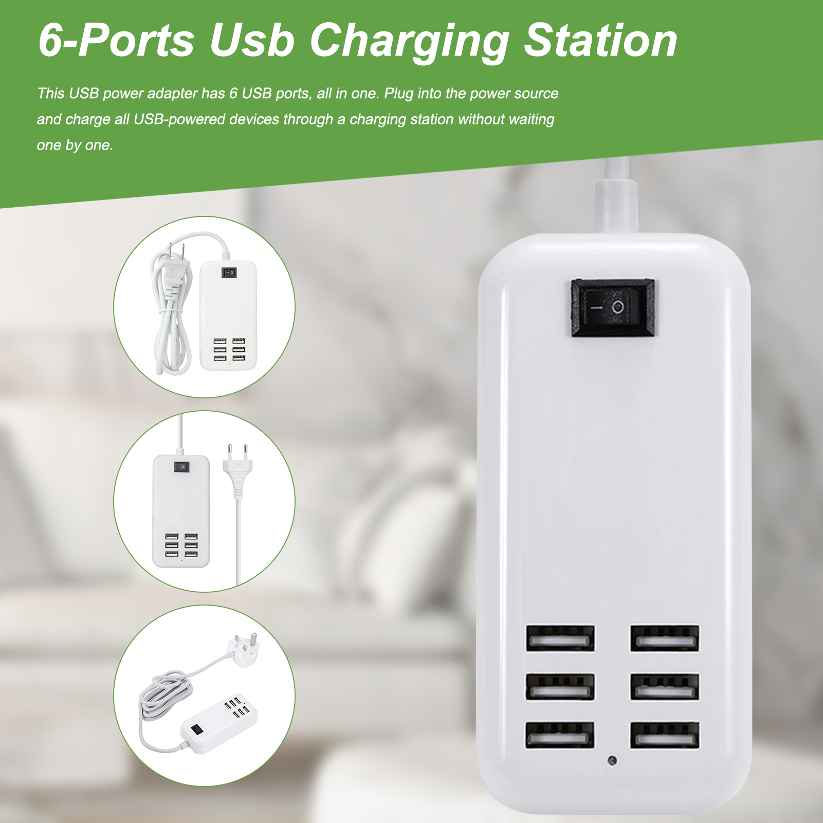 Multi Port Fast Charging USB Phone Charger 6 Ports Station Dock Stand Holder For All Phone/Tables/Smart Watch/Power Bank