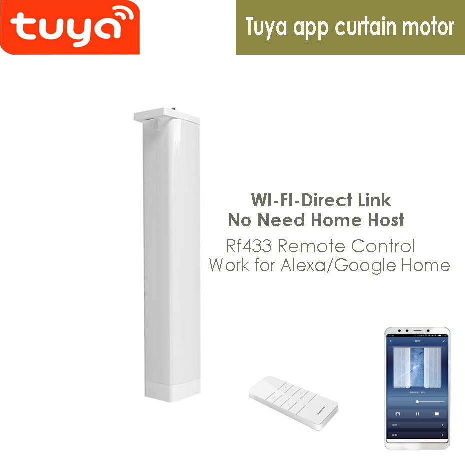 Tuya App Wifi Electric Curtain Motor, Phone App/RF433 Remote Control/Voice Control Via Alexa Echo And Google Home For Smart Home