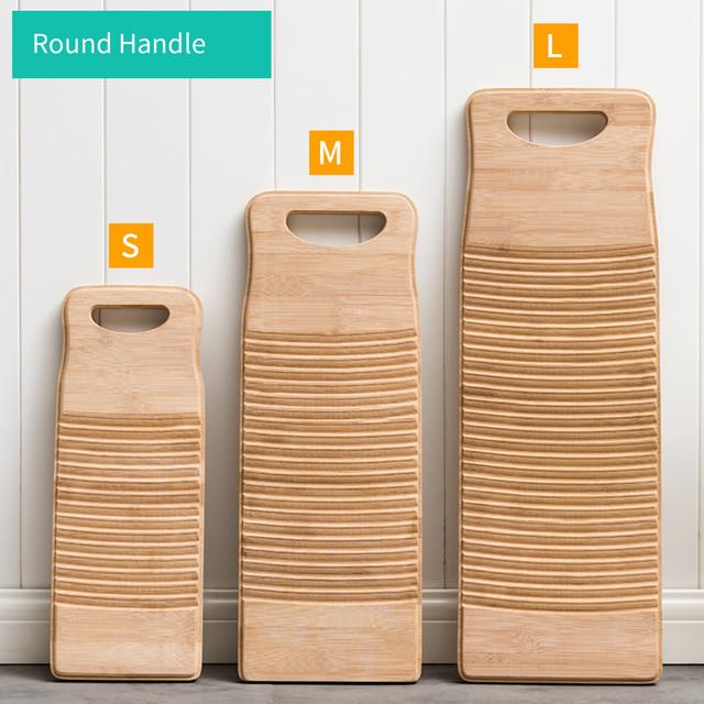Deska do mycia drewna deska do mycia z okrągły uchwyt ręczny perkusja deska do mycia rąk ubrania do prania myjka bambusowa czysta tanie i dobre opinie Washboard Other