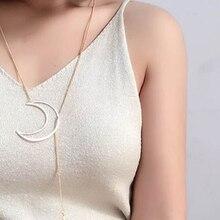 Fashion Long Clavicle Chain Necklace Gold Moon Stars Sun Pendant Necklace Ladies Crescent Moon Pendant Long Necklace