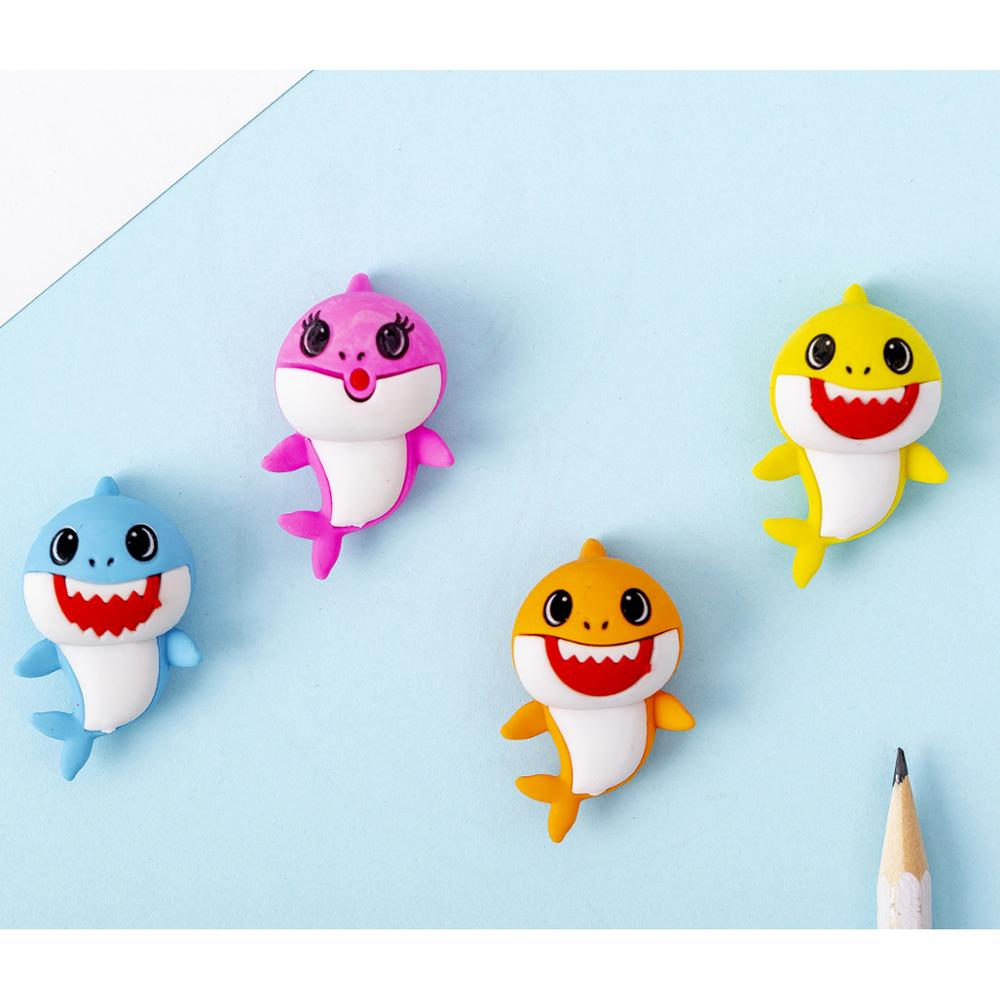 48pc/lot Lovely Cartoon Cute Shark Fish  Rubber Eraser/ Stationery For Children Students/nice Gift Eraser
