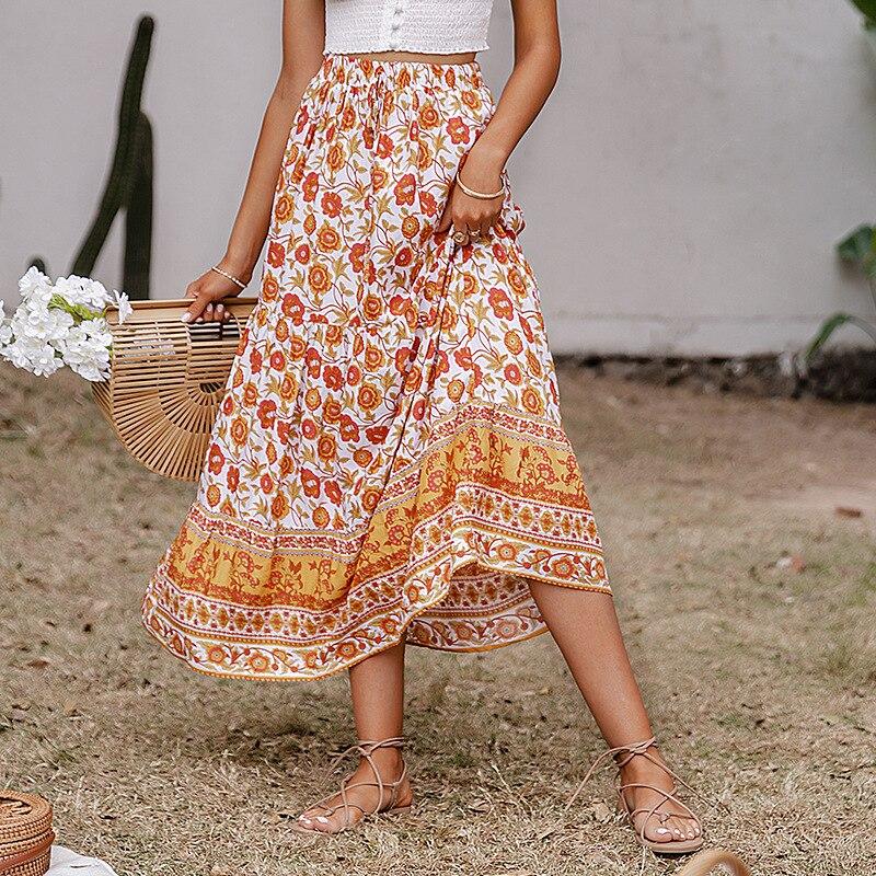 Bohemian New Print Woman Skirts Casual Printed Holiday Long Skirt 3