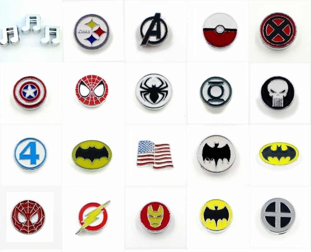 hero series wholesale 5pcs/lot Internal Dia.8mm slide Charms Jewelry Finding fit 8mm wristband pet collar key chain