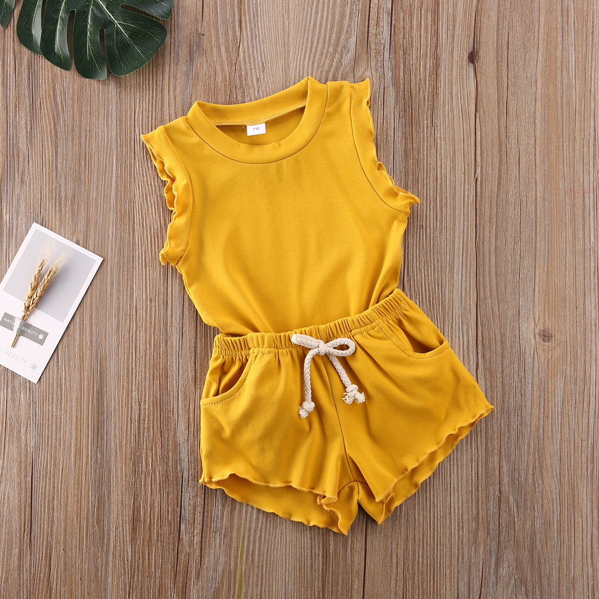 2PCS Newborn Kid Baby Toddler Girl Solid Clothes Tops Shorts Outfits Set Sunsuit