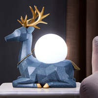 Blue Deer Resin Table Lamps Bedroom Living Room Led Night Light Home Decor Table Bedroom Lamp Lamparas Mesita Noche Dormitorio