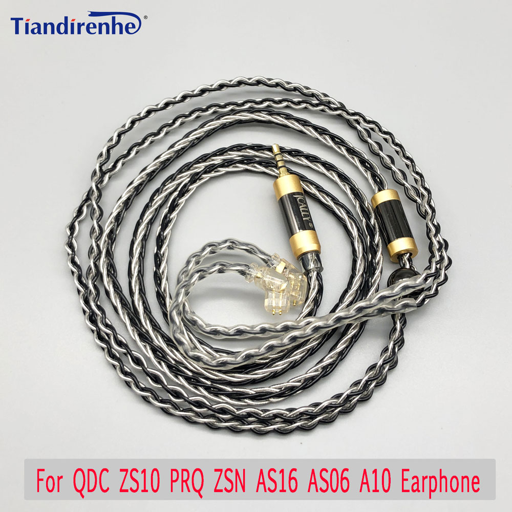 Black Silver Cable 0.78mm 2 Pin For QDC ZS10 PRQ ZSN AS16 AS06 A10 Earphone Headset 2.5mm 3.5mm 4.4mm Custom Earphone Cable