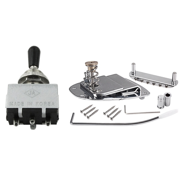 2 Set Guitar Accessories 1 Set Guitar Bridge Pull Plate Tremolo for Mustang and Jazzmaster & 1 Set 3 Way Pickup Selector Toggle