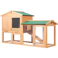 138cm Wide Rabbit Hutch Chicken Coop Cage Guinea Pig Ferret House W/ 2 Storeys Run Large Outdoor Household Cage Pets House A2