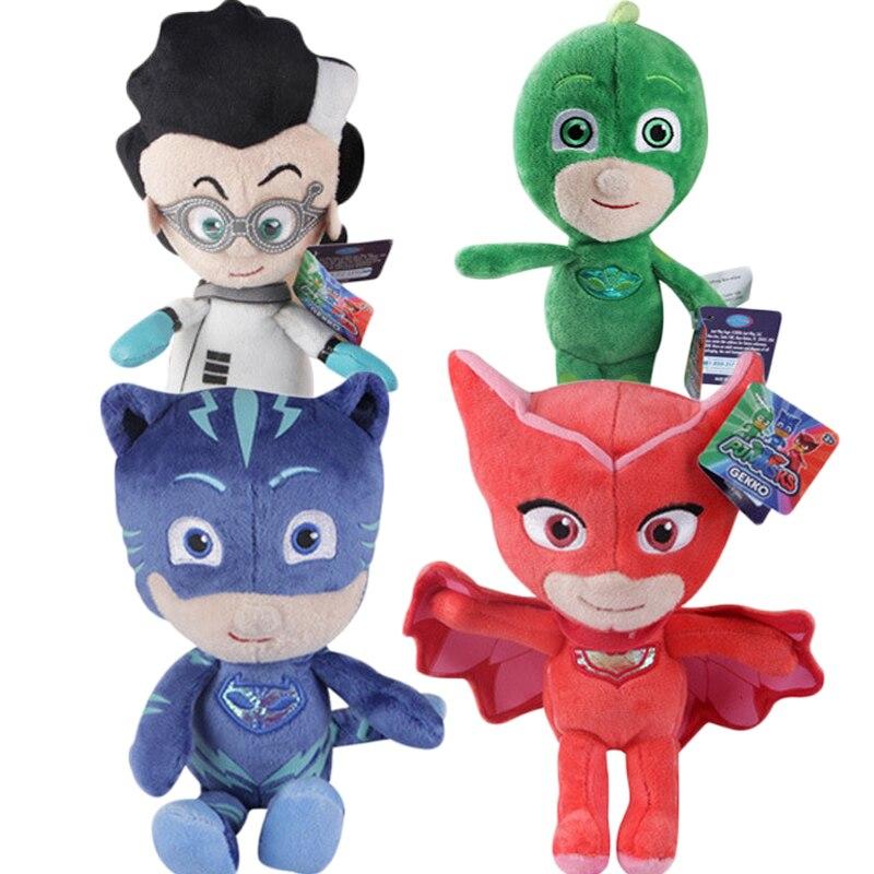 1pcs 20cm Cartoon Figures PJ Masks Catboy Owlette Gekko Cape Child Plush Masks Juguete Kids Toys For Children Birthday Gifts