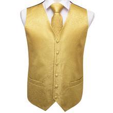 Vest for Men Gold Suit Floral Waistcoat Slim-Fit Tuxedo Paisley Tie Set Cufflinks Gift Wedding Business Hi-Tie VE-0009