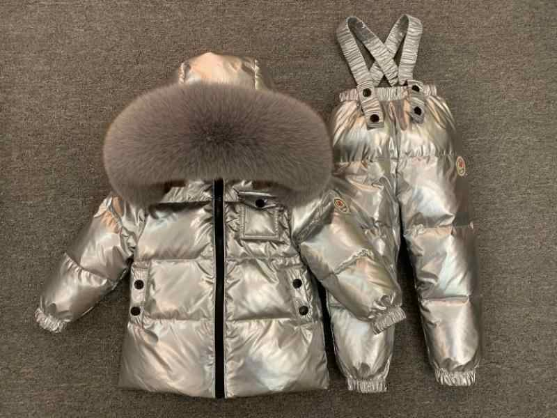 Russian Winter Children Duck Down Coat Set For Boys Girls Thick Warm Kids Parka Shiny Jacket+Pants Clothing Sets Baby Snow Wear