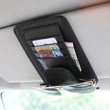 Novo universal carro auto visor organizador titular caso de couro do plutônio para óculos de cartão acessórios do carro sun visor organizador do carro-estilo