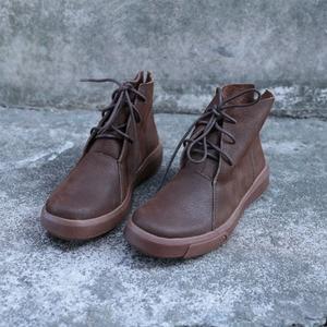 Image 1 - Женские ботильоны на шнуровке, Осенняя обувь из натуральной кожи, Нескользящие ботинки на резиновой подошве, 2018(9738)