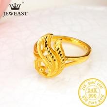 Anillo de oro puro de 24 quilates para mujer, sortija de oro sólido auténtico AU 999, corazón brillante elegante, joyería clásica de lujo, novedad de 2020