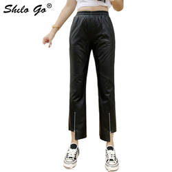 Genuine Leather Pants Black High Waist Zip Front Detail Asymmetry Small Flare Pants Women Autumn Winter Solid Sheepskin Trousers