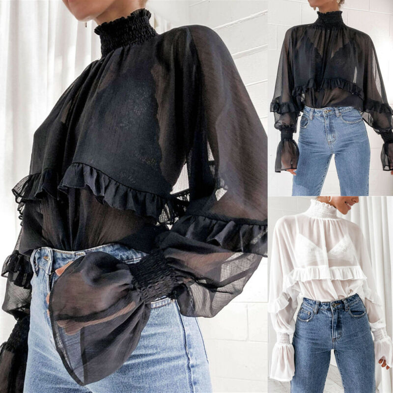 2020 Spring Womens Chiffon Blouse Long Sleeve Mesh Sheer High Neck Solid Color Ruffle Trim Blouse Loose See-Though Frill Tops
