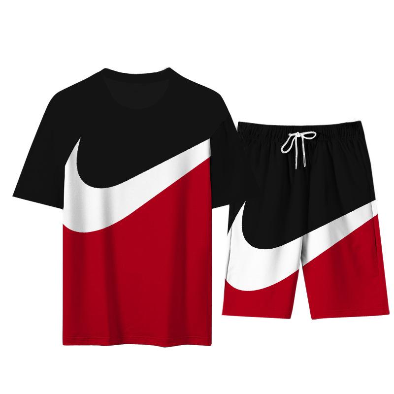 2021 Summer Fashion Leisure brand Men's Set Tracksuit Sportswear Track Suits Male Sweatsuit Short Sleeves T shirt 2 piece set