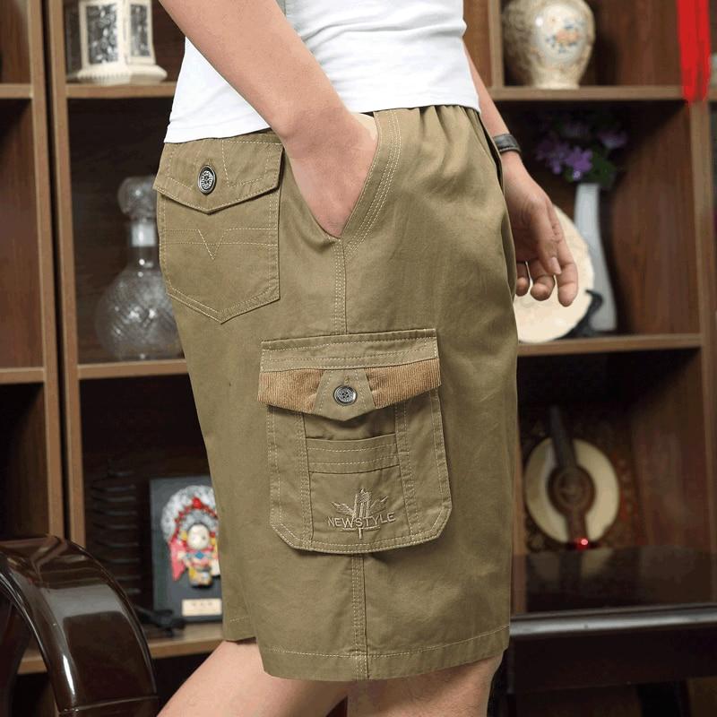 Men's Short Summer Plus Size Cotton Elastic Waist Work Bermuda Hot Loose Baggy Breeches Army Green Male Cargo Casual Short Male