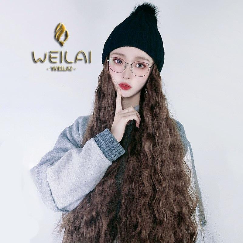 chapéu lã estudante de inverno ins malha peruca chapéu uma mulher