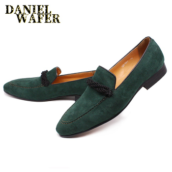 LUXURY LEATHER LOAFERS MEN SHOES GREEN COW SUEDE SHOES SLIP ON POINTED TOE FORMAL DRESS WEDDING OFFICE CASUAL MEN SHOES