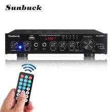 Sunbuck amplificadores de cinema em casa AV-299BT usb fm 5.0 bluetooth mp3 2 mic entrada 2ch 2000w 50hz amplificador de potência estéreo