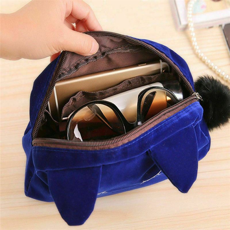 New Cute Flannel Small Cosmetic Bags Women Makeup Cartoon Cat Storage Bags Travel Organizer Pen Pencil Pouch Bags Free shipping