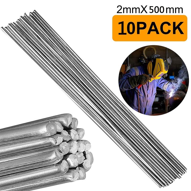10Pcs Aluminum Welding Rods Magnesia Aluminum Cored Wire Low Temperature Diameter 1.6mm 2mm Welding Rod Wire Length 50cm