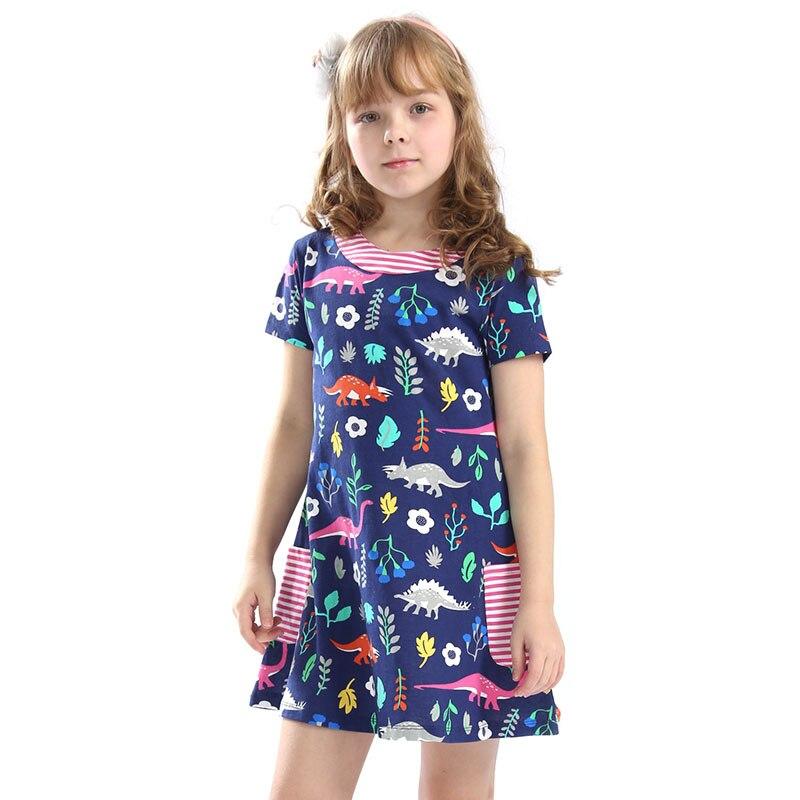 Bongawan Meninas Vestidos A-line-o pescoço 2-12 Anos Bolso Impressão Verão Dos Desenhos Animados Roupa Das Crianças Para A Festa de Aniversário