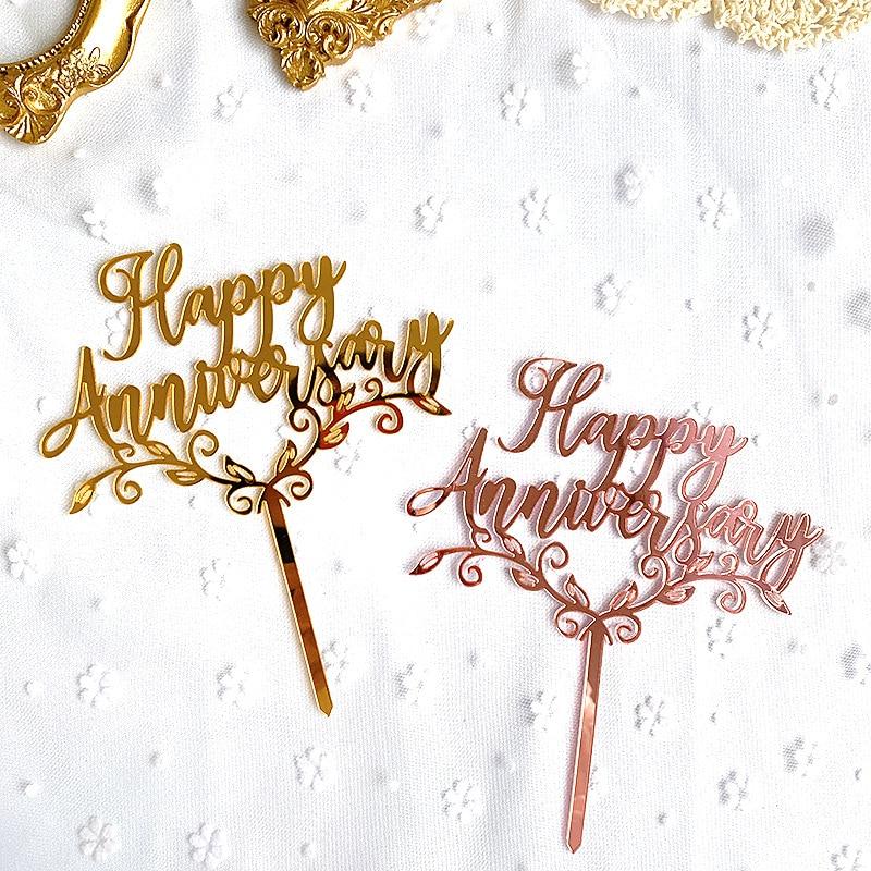 Новинка, акриловый Топпер для торта на годовщину, розовое золото, зеркальные акриловые топперы для торта на свадьбу, годовщину, украшения дл...