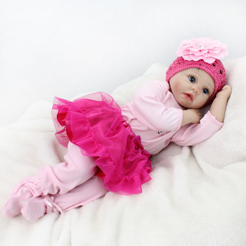 Bebe reborn newborn baby Girl silicone dolls toys 22inch 55cm hand rooted hair soft reborn babies dolls gift