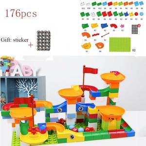 Image 4 - 88 352 PCS Blocks Marble Race Run Maze Ball Track Building Blocks Plastic Funnel Slide Assemble Bricks Compatible For kids Gift