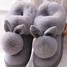 Cotton Slippers Warm-Shoes Rabbit Plus Winter Womens Cute New-Fashion Home Ear Autumn