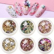 1 Box Mixed Colorful Nail Rhinestones Crystal Stones Glitter Metal Rivet Gem Nails Art Decoration Strass Diy Manicure Diamonds