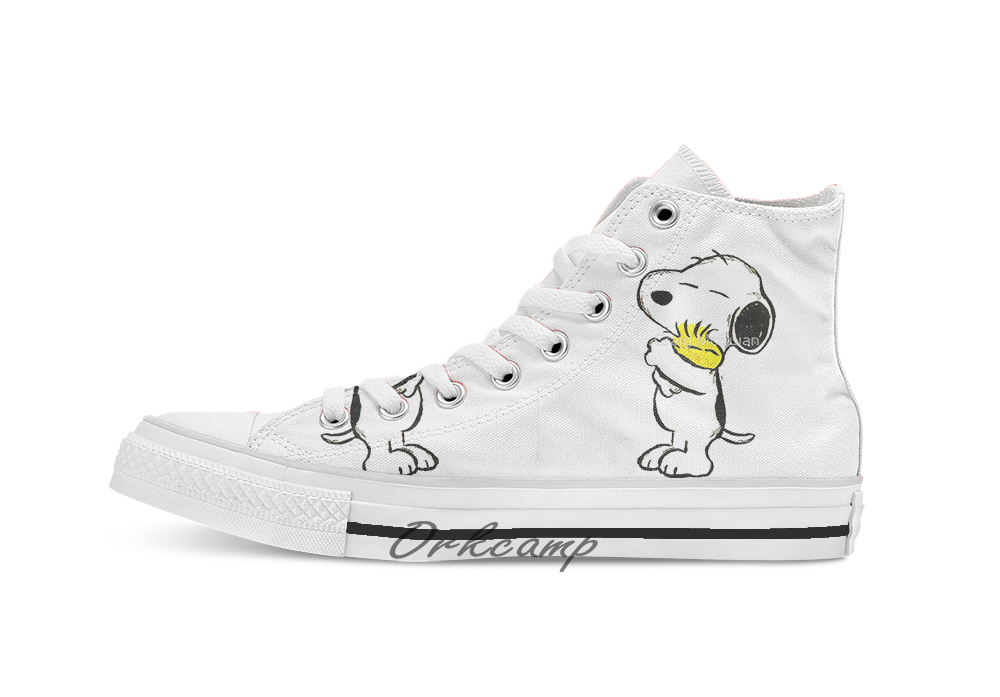 Snoopy And Woodstock  Custom Casual High Top Lace-up Canvas Shoes Sneakers Drop Shipping