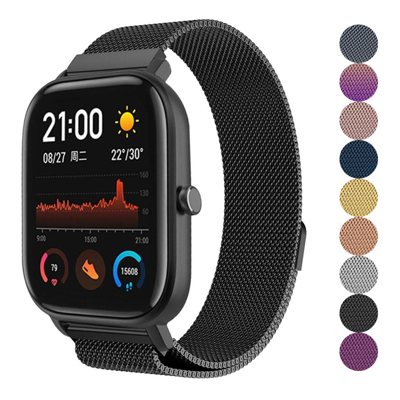 <font><b>20mm</b></font>/22mm <font><b>strap</b></font> for Huami Amazfit <font><b>GTS</b></font>/Bip lite/GTR 42mm/pace/GTR 47mm/stratos band milanese loop bracelet smart <font><b>watch</b></font> band image
