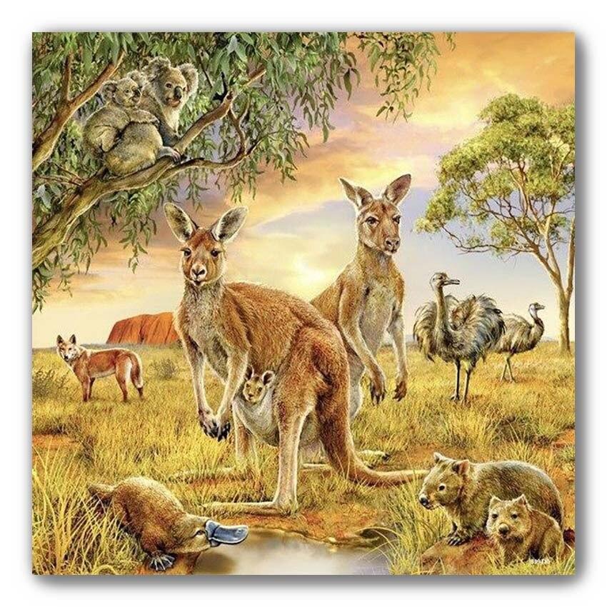 Kangourou Diamant peinture australie animaux traversant 5D bricolage plein forage Broderie Diamant Koala mosaïque photo décoration de la maison